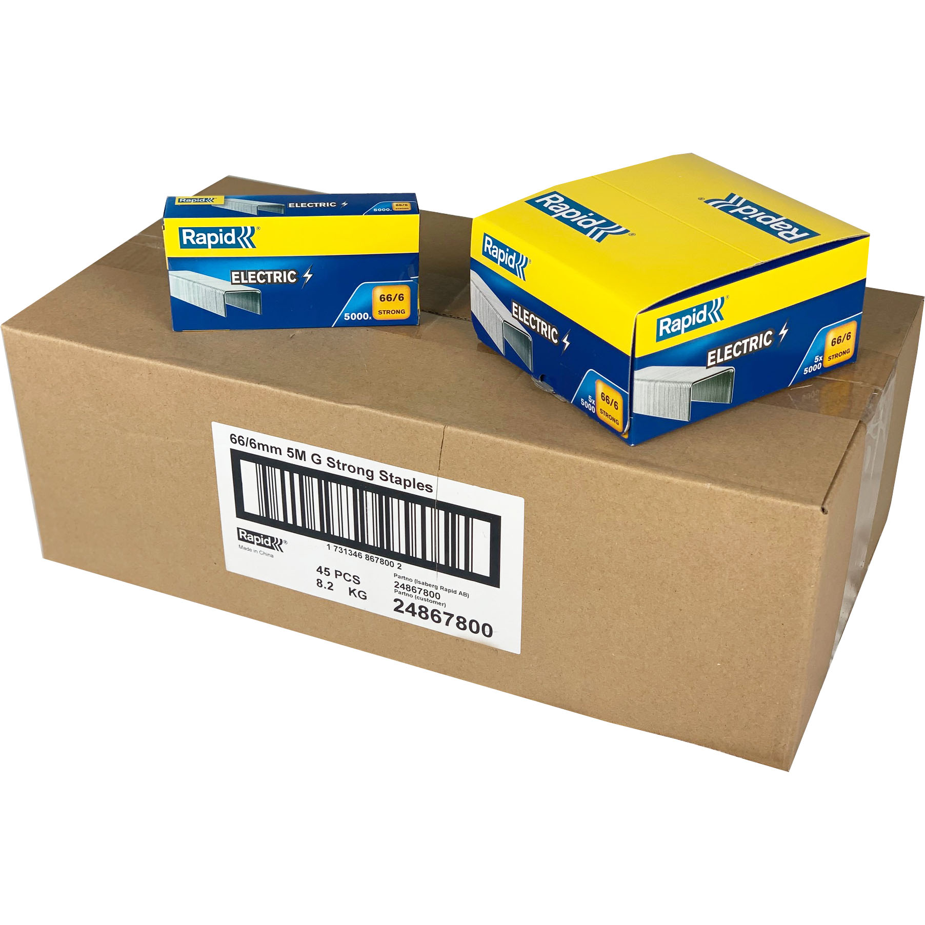 Wholesale Box Rapid 66/6 Staples (45 Packs)